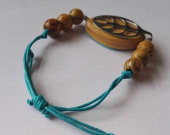 Bellabeat leaf bracelet Adjustable cotton cord bracelet with wooden beads to wear with bellabeat leaf vegan friendly