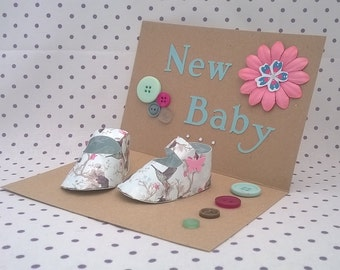 Keepsake Baby Bootie, Shoe, Greetings Card, Baby Gift, Custom, Personalised Gifts, Congratulations, New Baby, Welcome, Unusual Baby Gift
