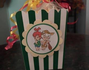12 Pebbles and Bam Bam Mini Party Favor Popcorn Boxes