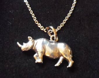 "Rhino W9 Pewter On a 16"" 18"" 20"" 24"" inch Silver Plated Curb Chain Necklace"