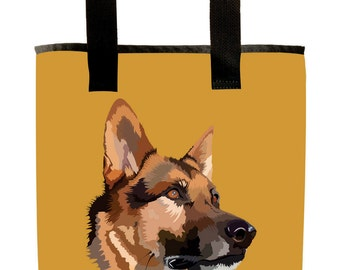 Reuseable Market Bag - Made from Recycled Materials - Eco-Friendly - Washable - Grocery Bag - German Shepard - Dog - Gold