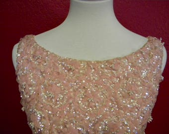 Vintage 1960s Royal Cathay Wool Beaded Full-Length Formal Gown Pink Floral