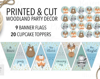 Woodland baby shower, Woodland nursery banner, Woodland Animal Cupcake Topper, Woodland banner, Woodland party decor, Printed party banner
