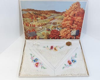Vintage ORLANA Swiss Style Boxed Set of 3 Floral Embroidered Lace Handkerchiefs