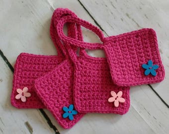 Pink crochet cotton luggage tags / suitcase tags / travel accessories