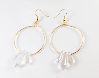 Minimalist Crystal Drop Hoop Earrings