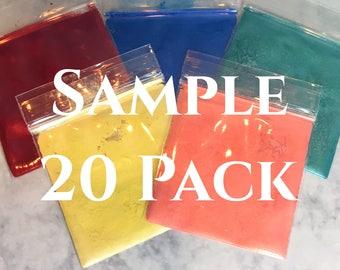 Sample Pack of 20 loose mineral eyeshadows vegan mineral makeup cosmetics