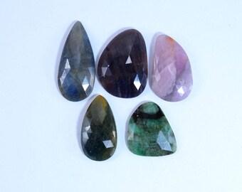 Natural Sapphire Facetd Flatback Fancy shape loose semi precious gemstone cabochon size 20.5 To 30.5 mm approx wholesale gemstone GE-321