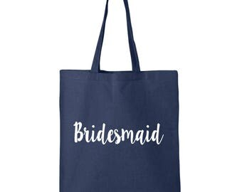 Bridesmaid Cotton Canvas Tote Bag in 11 Colors