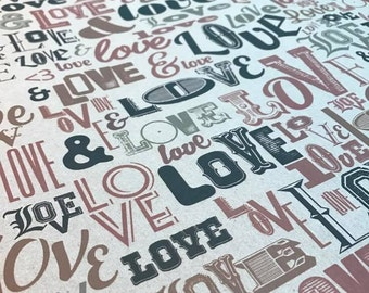 Vintage Love Wrapping paper, 1m sheets or 10m roll