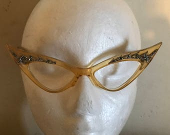 Vintage Glamorous diamanté  Piccadilly Cat Eye glasses frame