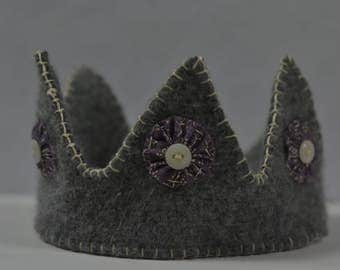 Gray and Purple Wool Crown