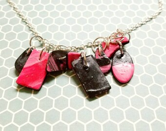 All charms- black & pink necklace minimalist clay necklace jewelry Gifts for her handmade polymar clay design diamond square oval shapes