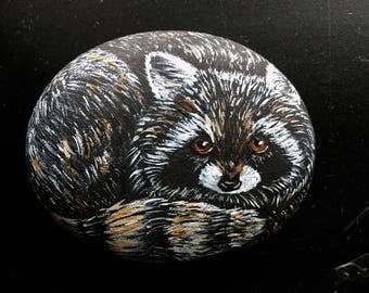 Hand Painted Raccoon Rock