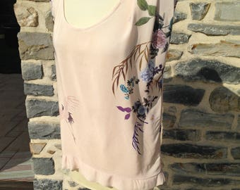 Top flower motifs and heron, lightweight fabric with pleating on left shoulder