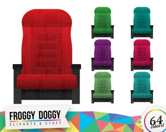 Cinema Seat Cliparts, Cinema Clipart, Movies Clipart, Armchair Clipart, Hollywood Clipart, Planner Clipart, Scrapbooking Cliparts