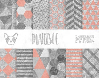 Silver & Rose Gold Marble Digital Papers, Marble Ombre, Geometric Texture, Pastels Digital Paper, Scrapbooking Papers