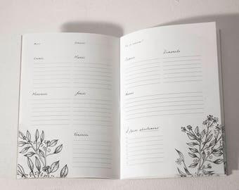 Book / Week Planner blossomed - 25 weeks - weekly - Organizer - notebook - Notebook - Weekly Planner