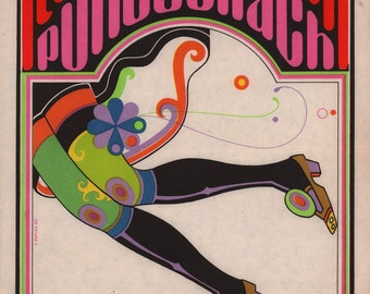 """Original 1969 Psychedelic Czech Movie Poster for """"All Neat in Black Stockings"""""""
