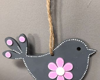 Charcoal grey and lilac wooden bird