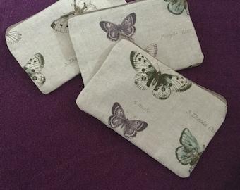 Small Pretty Butterfly Zipped Purse