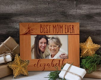Personalized Best Mom Ever Photo Frame, Custom Engraved Frame for Mom, Mother's Day Gift, Custom Picture Frame, I Love Mom Name #22