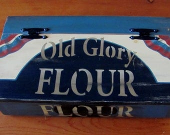 """Handcrafted Handpainted """"Old Glory Flour"""" Box"""
