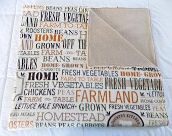 Homegrown Fleece Blanket - Garden Fleece Blanket - Vegetable Fleece Blanket