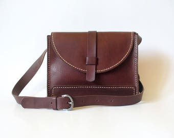 Leather shoulder bag, bordeaux leather bag, small leather bag, rectangular bag, handbag, mother's Day