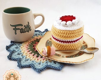 Crochet Cake, Crochet Victoria Sponge Cake, Pretend Play Cake, Play Cake, Pretend Cake, Fake Cake, Pretend Food, Play Food, Gift for a Child
