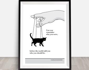 Bukowski, cat print, cat poster, literary quotes, funny cat wall decor,  funny cat card,  funny cat quote, nursery kitten print, cat mugs