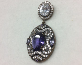 Sterling Silver 925 Pendant with Brass and CZ Stones with Purple Crystal