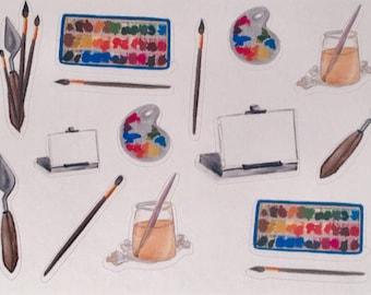 Art Supplies, artist tools, artist's painting supplies, palette, easel, canvas, paintbrushes (Ex1)