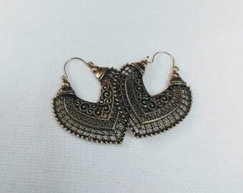 Retro. Antique Gold Look Earrings. Boho Chic.