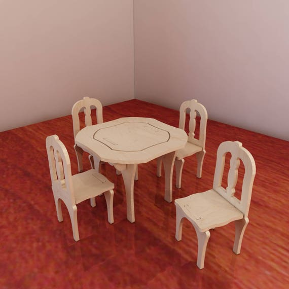 barbie wood furniture. table and chairs for barbie vector model cnc router laser cutting barbiesize furniture plans plywood 3456mm wood i