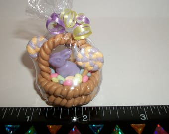 1:12 Scale Dollhouse Miniature Handcrafted Chocolate Bunny Easter Egg Dessert Basket #974