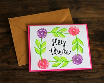 Hey There Card, Set of 5, Hello Card, Thinking of You Card, Blank Cards, Hello Notes Greeting Card Set, Encouragement Cards, Colorful Cards