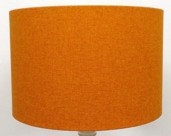 Shetland Orange Brushed Linen Style Cylinder / Drum Lampshades / Pendant Shade / Table