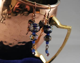Blue Lampwork and Crystal Earrings