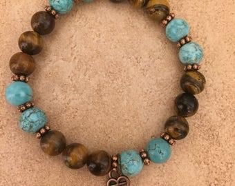 Blue Turquois Howlite & Brown Tiger Eye Bracelet