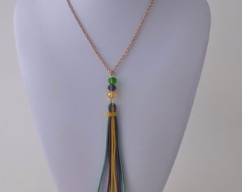 Gold Necklace with Mardi Gras Tassel