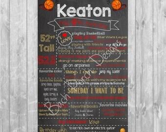 Boy Third; Fourth; Fifth; Sixth; Seventh; Eighth; Ninth; Tenth Birthday Digital Chalkboard Poster - Digital