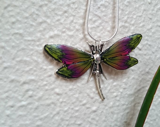 Necklace yellow Dragonfly and fushia clay polymer for mother's day