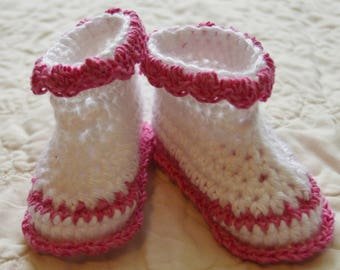 White and Pink Crocheted baby booties
