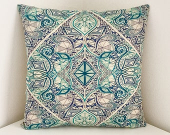 Cushion Cover, Geometric Cushion, Bohemian Blue Pillow, Mandala Print Cover