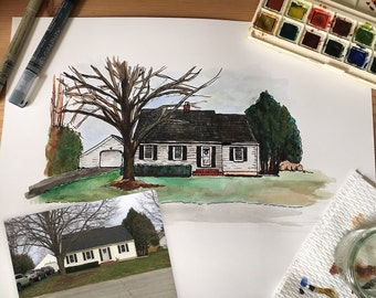 8x10 Custom Illustrated Watercolor House Portrait