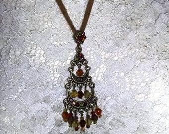 PD Premier Design multi colored stone chandelier pendant necklace