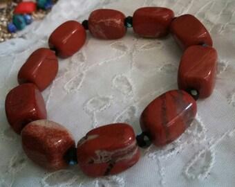 White Lace Red Jasper Stone bracelet