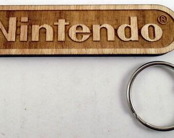 Nintendo Logo Laser Engraved Wood Keychain