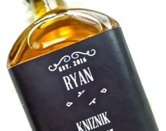 Groomsmen gift personalized mini liquor bottle / jack daniels label! Also can personalize for wedding favours